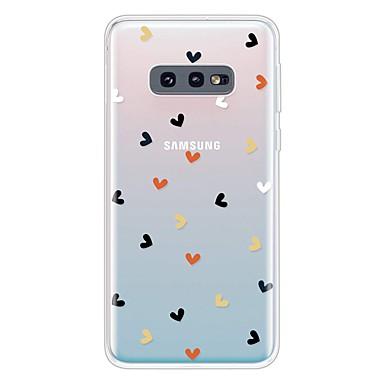 Недорогие Чехлы и кейсы для Galaxy S-Кейс для Назначение SSamsung Galaxy Galaxy S10 / Galaxy S10 Plus / Galaxy S10 E Ультратонкий / Прозрачный / С узором Кейс на заднюю панель С сердцем ТПУ