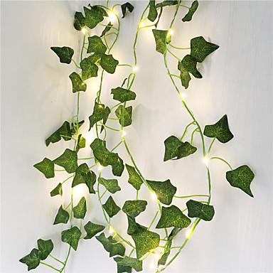 رخيصةأون LED وإضاءة-2 متر النباتات الاصطناعية led سلسلة ضوء الزاحف الأخضر ليفي فاين للمنزل الزفاف ديكور مصباح DIY شنقا حديقة ساحة الإضاءة (تأتي بدون بطارية) 3 قطعة 1 قطعة