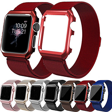 voordelige Apple Watch Cases met band-Milanese lus polsband band met case voor Apple Watch-serie 5/4/3/2/1 vervangende band metalen beschermhoes 38 mm 40 mm 42 mm 44 mm