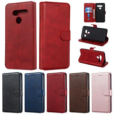 رخيصةأون LG أغطية / كفرات-القضية ل lg q ستايلس k50 قضية الهاتف بو الجلود المواد بلون نمط حالة الهاتف ل lg k40 v50 v40 v30