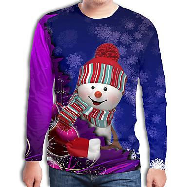 abordables Camisetas y Tops de Hombre-Hombre Chic de Calle / Punk & Gótico Estampado Camiseta Bloques / 3D / Caricatura Papá Noel Arco Iris