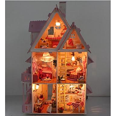 olcso Babaház és kiegészítők-DIY miniatűr fa csokoládé babaház villa led játékok