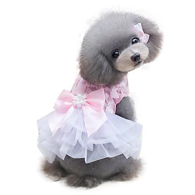 povoljno Odjeća za psa i dodaci-Pas Haljine Odjeća za psa Bijela Pink Kostim Šifon Mašna Chic & Moderna Vjenčanje Moda XS S M L XL