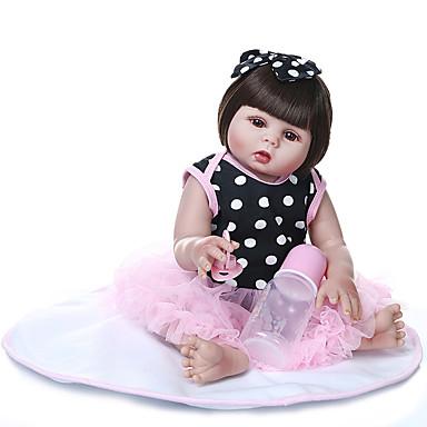 olcso babák-NPKCOLLECTION Reborn Dolls Baba Lány babák 20 hüvelyk Teljes test szilikon Vinil - Ajándék Kézzel készített Mesterséges beültetés barna szemek Gyerek Lány Játékok Ajándék