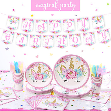 cheap Party Supplies-Party / Birthday Party Accessories Ornaments Splicing Plastic / Pure Paper Classic Theme / Unicorn / Creative