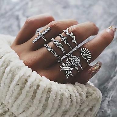 رخيصةأون خواتم-نسائي بالجملة مجموعة الطوق خاتم بأصابيع متعددة فضي سبيكة عتيق أوروبي شائع مناسب للحفلات مناسب للبس اليومي مجوهرات قديم عصفور عيون