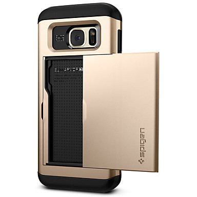 voordelige Galaxy S-serie hoesjes / covers-hoesje Voor Samsung Galaxy S7 edge Kaarthouder / Stofbestendig / Backup Achterkant Effen PC