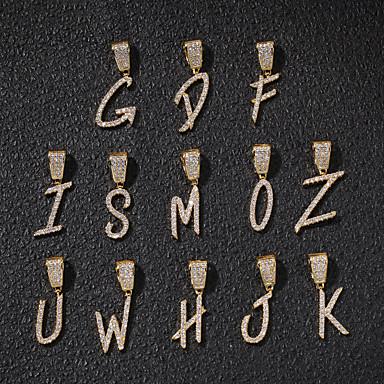 billige Mode Halskæde-Herre Dame Kvadratisk Zirconium Vedhæng Lysestage Alfabetformet Champignon Europæisk Trendy Rock Mode Indledende Broche Smykker Guld Sølv Til Gade