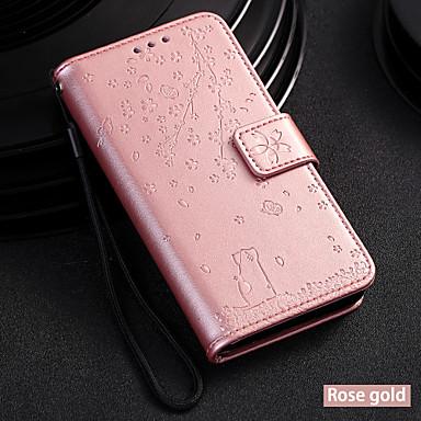 رخيصةأون LG أغطية / كفرات-غطاء من أجل LG LG V30 / LG Stylo 4 / LG Stylo 5 محفظة / حامل البطاقات / مع حامل غطاء كامل للجسم قطة / شجرة جلد PU