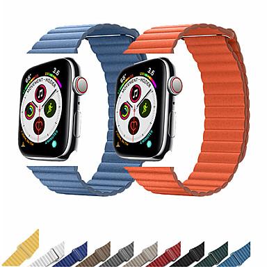 voordelige Smartwatch-accessoires-lederen riem voor Apple horlogeband 44 mm 40 mm 42 mm 38 mm lederen magnetische lus armband iwatch 5 4 3 2 accessoires