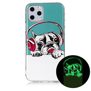 Недорогие Кейсы для iPhone 6 Plus-Кейс для Назначение Apple iPhone 11 / iPhone 11 Pro / iPhone 11 Pro Max Сияние в темноте / Ультратонкий / С узором Кейс на заднюю панель С собакой ТПУ