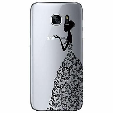 Недорогие Чехлы и кейсы для Galaxy S-чехол для samsung galaxy s7 край ультратонкий / прозрачный / рисунок задняя крышка мультфильм тпу