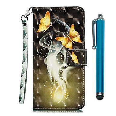 Недорогие Чехлы и кейсы для LG-чехол для lg stylo 4 / lg stylo 5 кошелек / визитница / с подставкой для всего тела кейс две золотые бабочки искусственная кожа
