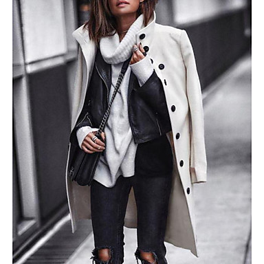お買い得  レディースアウター-女性用 日常 ロング コート, ソリッド スタンド 長袖 ポリエステル ブラック / ホワイト