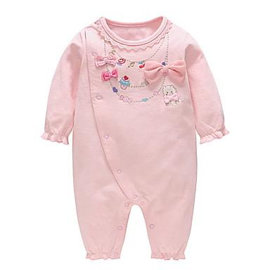 رخيصةأون ملابس الرضع-قطع واحدة كم طويل طباعة للفتيات طفل