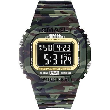 SMAEL رجالي ساعة رياضية رقمي رياضي مطاط أسود 30 m العسكرية ضوء LED ساعة التوقف رقمي الخارج - أسود أسود وأبيض أزرق فاتح سنة واحدة عمر البطارية