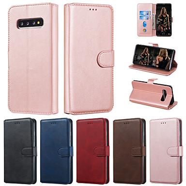 Недорогие Чехол Samsung-чехол для samsung galaxy s10 plus s10 чехол для телефона искусственная кожа материал сплошной цвет шаблон чехол для galaxy s10 e s9 плюс s9 s8 плюс s8 s7 edge s7