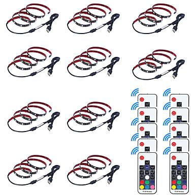 olcso RGB szalagfények-0.5m LED-es szalagfények / RGB szalagfények / Távirányító 15 LED SMD5050 17-kulcsos távirányító Több színű Kreatív / USB / Parti 5 V 10pcs