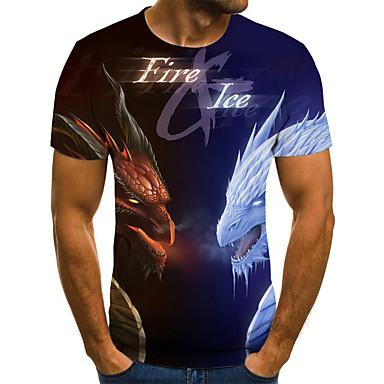 povoljno Muška moda-Majica s rukavima Muškarci - Ulični šik Vikend Geometrijski oblici / 3D / Životinja Drapirano / Print Plava