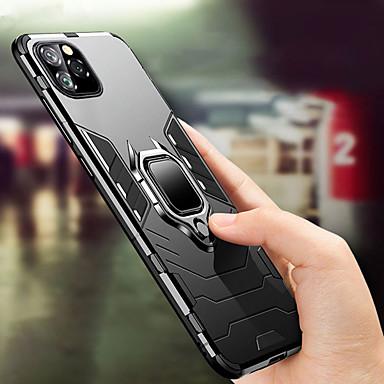 Недорогие Кейсы для iPhone-Кейс для Назначение Apple iPhone 11 / iPhone 11 Pro / iPhone 11 Pro Max Защита от удара / Кольца-держатели Кейс на заднюю панель Однотонный ТПУ / ПК / Металл