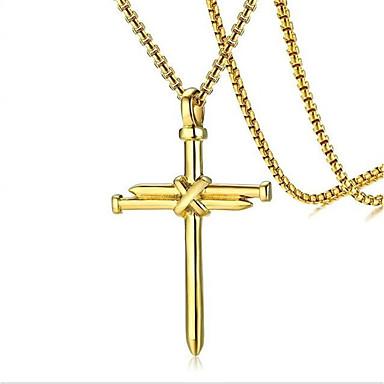 Недорогие Ожерелья-Муж. Ожерелья с подвесками геометрический Крест Мода Титановая сталь Черный Золотой Серебряный 60 cm Ожерелье Бижутерия 1шт Назначение Повседневные Праздники