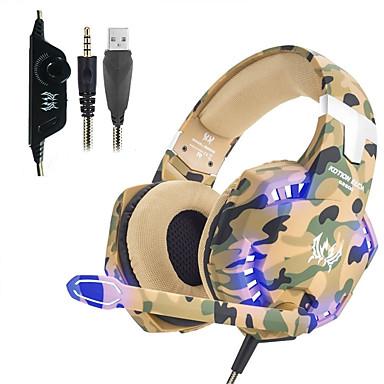 voordelige Gaming-oordopjes-kotion elke g2600 hoofdtelefoon gaming-headset stereo ruisonderdrukkende bedrade oortelefoon met microfoon led-verlichting voor desktop pc laptop ps4