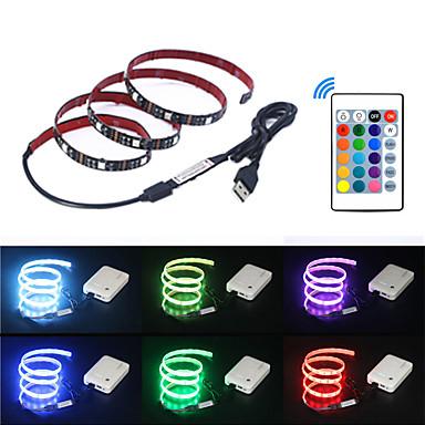 olcso RGB szalagfények-5 m LED-es szalagfények / RGB szalagfények / Távirányító 150 LED SMD5050 1 24Keys távirányító Több színű USB / Parti / Dekoratív 5 V 1set / Öntapadós