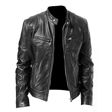 저렴한 남자 겉옷-남성용 스탠드 가죽 자켓 보통 솔리드 일상 베이직 봄 긴 소매 블랙 / 브라운 US32 / UK32 / EU40 / US34 / UK34 / EU42 / US36 / UK36 / EU44