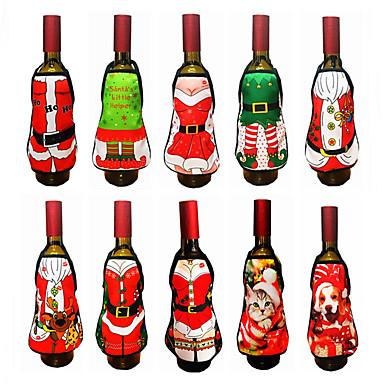 رخيصةأون تزيين المنزل-2 قطع زينة عيد النبيذ زجاجة سانتا كلوز ثلج غطاء زجاجة مجموعة السنة الجديدة حقيبة عيد الميلاد عشاء عيد الميلاد الديكور