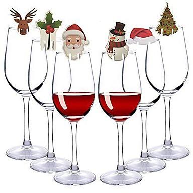 رخيصةأون تزيين المنزل-20 قطعة / المجموعة عيد الميلاد الزجاج علامة العلم قبعة مسواك العلم الغذاء الديكور عيد الميلاد الحلي لون عشوائي