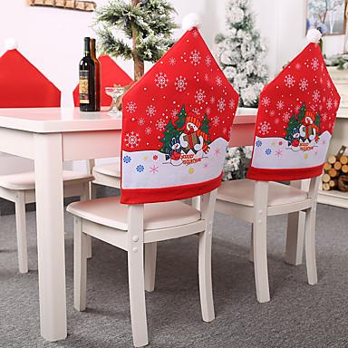 povoljno Dekoracija doma-2pcs božićni ukrasi netkani snjegović presvlake stolica festival aranžman stolica set predmeta