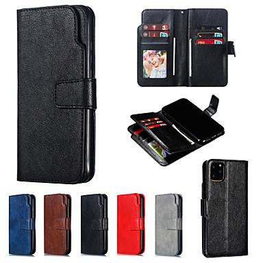 ราคาถูก เคสสำหรับ iPhone 5-Case สำหรับ Apple iPhone 11 / iPhone 11 Pro / iPhone 11 Pro Max Wallet / Card Holder / Flip ตัวกระเป๋าเต็ม สีพื้น หนัง PU / พีซี