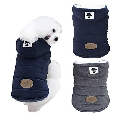رخيصةأون ملابس وإكسسوارات الكلاب-كلب المعاطف هوديس الشتاء ملابس الكلاب أزرق رمادي كوستيوم هاسكي لابرادور Malamute ألاسكا قطن لون سادة الدفء ضد الرياح موضة S M L XL XXL