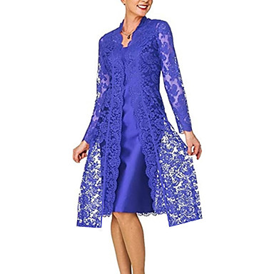 cheap Lace Dresses-Women's Lace Knee Length Dress - Long Sleeve Solid Colored Lace Formal Style Spring Fall V Neck Plus Size For Mother / Mom Going out Lace 2020 Black Blue Red Gray S M L XL XXL XXXL XXXXL XXXXXL