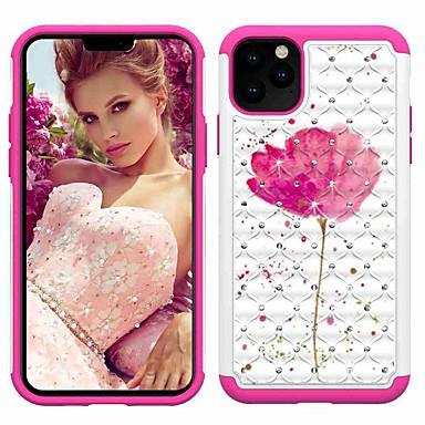 Недорогие Кейсы для iPhone-Кейс для Назначение Apple iPhone 11 / iPhone 11 Pro / iPhone 11 Pro Max Защита от удара / Стразы / С узором Кейс на заднюю панель Цветы ТПУ / пластик