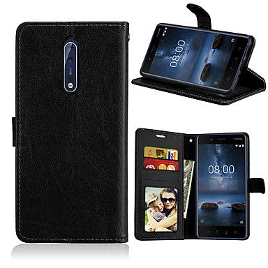 Недорогие Чехлы и кейсы для Nokia-Кейс для Назначение Nokia Nokia 8 / 8 Sirocco / Nokia 7 Магнитный / Авто Режим сна / Пробуждение Чехол Однотонный Кожа PU / ТПУ / Nokia 6