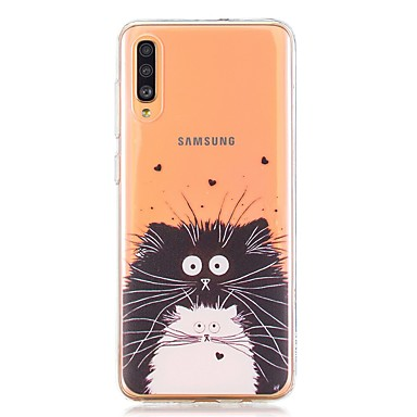 voordelige Galaxy A-serie hoesjes / covers-hoesje voor Samsung Galaxy A40 (2019) / Galaxy A50 (2019) / A70 (2019) Achterkant Zwart-witte kat TPU voor A10 (2019) / A20 (2019) / A30 (2019) / A8 (2018) / A7 ( 2018) / a6 (2018) / a5 (2017) / a3