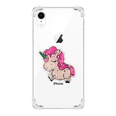 voordelige iPhone 6 hoesjes-hoesje Voor Apple iPhone XS / iPhone XR / iPhone XS Max Schokbestendig / Stromende vloeistof / Transparant Achterkant dier / Glitterglans TPU