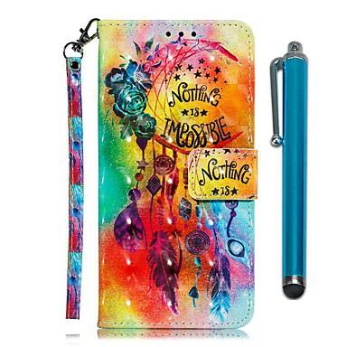 ieftine Carcase / Huse de LG-carcasă pentru lg stylo 4 / lg stylo 5 portofel / suport pentru card / cu suport pentru corp cu carcase pline flori vânt din piele pu