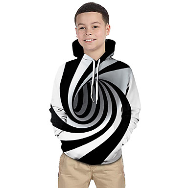 cheap Kids' New Arrivals-Kids Toddler Boys' Active Basic Black & White Fantastic Beasts Striped Geometric Print Print Long Sleeve Hoodie & Sweatshirt White