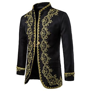 hesapli Erkek Blazerları ve Takım Elbiseleri-Erkek Blazer, Zıt Renkli Dik Yaka Polyester Siyah / Beyaz / YAKUT