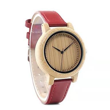 رخيصةأون ساعات النساء-نسائي ساعات كوارتز موضة أحمر جلد طبيعي ياباني كوارتز ياباني ذهبي + أحمر ساعة كاجوال خشبي 30 m مماثل سنتان عمر البطارية