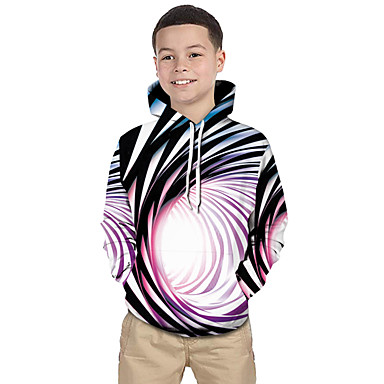 cheap Kids' New Arrivals-Kids Toddler Boys' Active Basic Black & White Fantastic Beasts Striped Color Block 3D Print Long Sleeve Hoodie & Sweatshirt Rainbow
