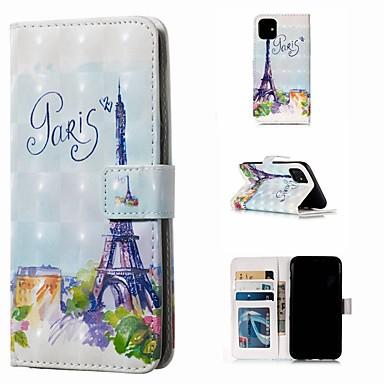 voordelige iPhone-hoesjes-hoesje Voor Apple iPhone 11 / iPhone 11 Pro / iPhone 11 Pro Max Portemonnee / Kaarthouder / Flip Volledig hoesje Eiffeltoren PU-nahka