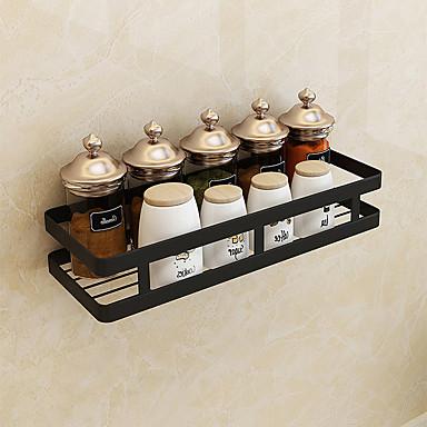 olcso Konyhai tárolás-fürdőszoba függő kosár polc fekete rozsdamentes acél matt fekete lyukasztó hely fűszertartó konyha tároló állvány