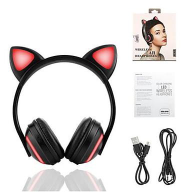 Недорогие Наушники для геймеров-Bluetooth стерео наушники-кошки наушники мигающие светящиеся наушники-кошки наушники игровая гарнитура наушники 7 цветов светодиод