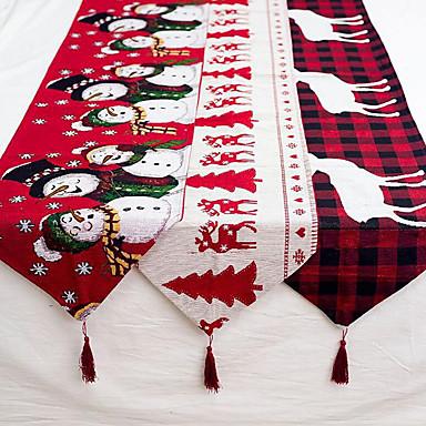 olcso Lakberendezés-vászon karácsonyi jávorszarvas hóember asztali futó vidám karácsonyi díszek otthoni 2019-es karácsonyi díszekhez