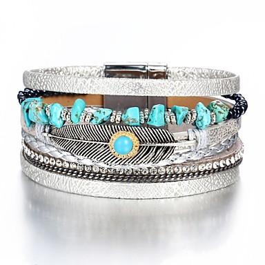 billige armbånd-Herre Dame Læder Armbånd Klassisk Fjer Mode Folk Style PU Armbånd Smykker Sølv Til Gave Daglig Arbejde