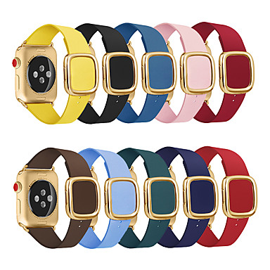 voordelige Smartwatch-accessoires-horlogeband voor appelhorloge serie 5/4/3/2/1 appel moderne gesp lederen polsband