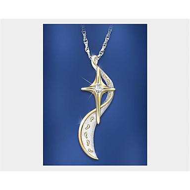 Žene Kubični Zirconia Ogrlice s privjeskom Geometrijski MOON Moda Pozlaćeni Zlato 45+5 cm Ogrlice Jewelry 1pc Za Dnevno Rad